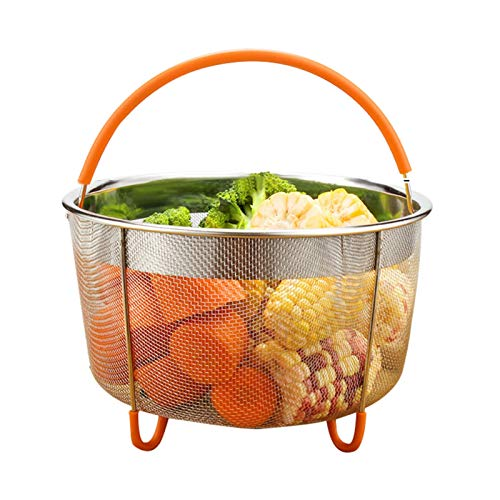 Stainless Steel Steamer Basket with Silicone Handle, Steamer Inserts, Fits 6 or 8 Quart Instant-Pot, Larger Electric Pressure Cooker