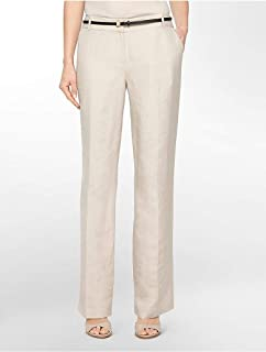 Calvin Klein Beige Straight Trousers Pant For Women