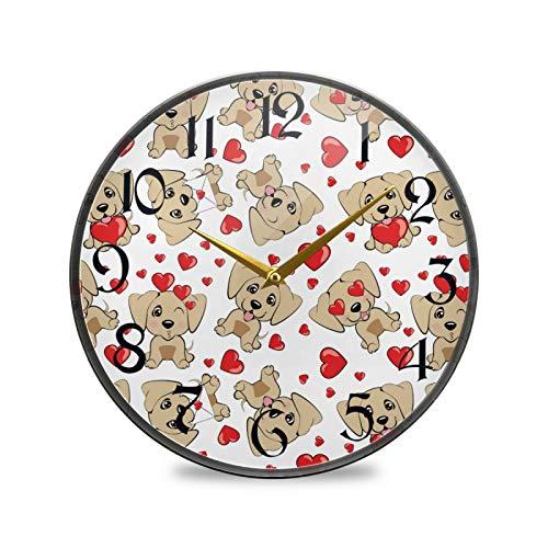ART VVIES Reloj de Pared Redondo de 9,5 Pulgadas Que no Hace tictac silencioso Funciona con Pilas Oficina Cocina Dormitorio decoración del hogar-Perros Corazones Rojos Galgo