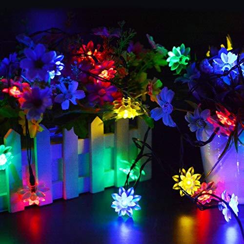 Waterdichte lichtketting op zonne-energie, tuinverlichting, outdoor Lotus, 8 standen, met verbeterde batterij op zonnepaneel, decoratieve verlichting voor Kerstmis 4,9FT