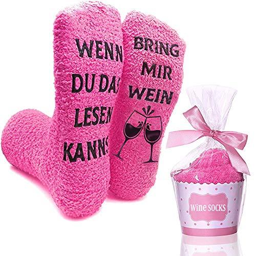 Kuschelsocken, Damen Lustige Socken Geschenke für Frauen Weinliebhaber, Wenn du das lesen Kannst Bring mir Wein Antirutsch Fun Socken Witzige Geburtstagsgeschenk für Freundin Valentinstag Muttertag