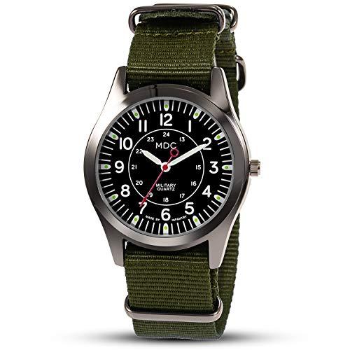 Armbanduhr Männer Militär Uhr Herren Outdoor Arbeitsuhr Herrenuhr Schwarz Uhren Fliegeruhr Armee Analog Lässig Männeruhr mit Grün NATO Nylonband by MDC