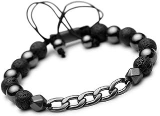 Karseer Cuban Link Chain & 8MM Natural Stone Beads Bracelet Adjustable Healing Stone Energy Balance Anxiety Relief Bracele...