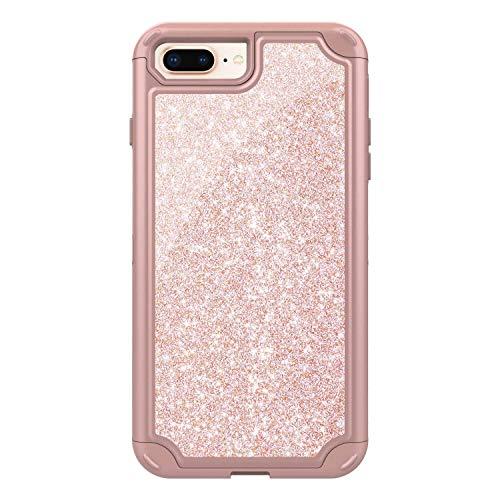 iPhone 7 Plus/iPhone 8 Plus Case, CUSKING Anti Scratch TPU and Glitter Hard PC Case Heavy Duty Bumper Case, Anti Shock Protective Cover for Apple iPhone 7 Plus/iPhone 8 Plus, Rose Gold