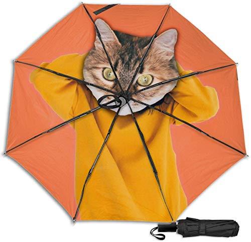 Paraguas de viaje Protección UV a prueba de viento (gato hiper en ropa de jersey de moda)