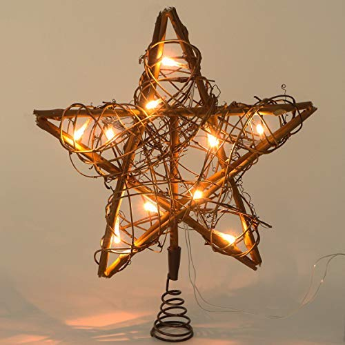 SHEOO Christmas Tree Toppers 10 Light Indoor Rattan Natural Star Treetop Christmas Tree Holiday Xmas Party Decorations
