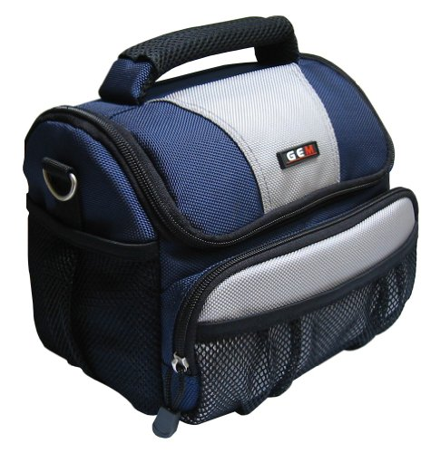 GEM GEM1013PLDMCFZ60FZ62FZ200LZ20 Estuche para cámara fotográfica - Funda (Funda de protección, Panasonic, Lumix DMC-FZ60, DMC-FZ62, DMC-FZ200, DMC-LZ20, Tirante para Hombro, Azul, Blanco)