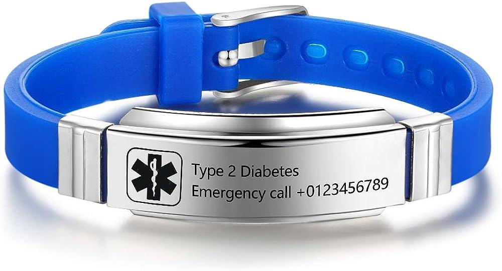 Limited time sale Personalized Medical Alert Bracelets for Women Washington Mall Men Emergen Sport