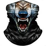 FMDAN Wolf Face Mask Bandana Fishing Neck Gaiter Sun Wind Dust Protection Headwear for Men Women Hunting Cycling Running (Multicolored 0505)