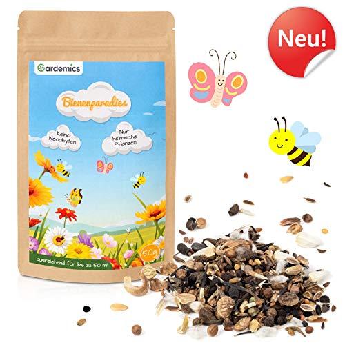 Gardemics Blumensamen Bienen - Heimische Premium Blumensaat für eine vielfältige Blumenwiese ohne Neophyten - Bunte Bienenweide - Saatgut Ein- & Mehrjährig