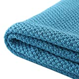 Treely 100% Cotton Knitted Throw Blanket for Couch Chair Bed Home Decorative, Soft & Cozy Knit Throw Blanket(50'x60', Teal)