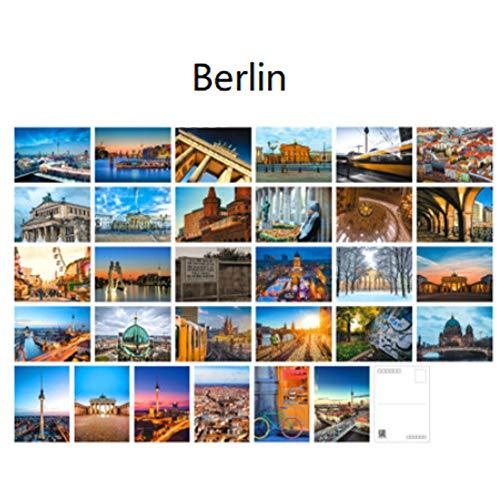 30 Stück 1 Set Weltberühmte Stadt Sehenswürdigkeiten Bauen Reise Sehenswürdigkeiten Landscape Postkarte Grußkarten Geschenk Blanko Postkarten (Berlin)