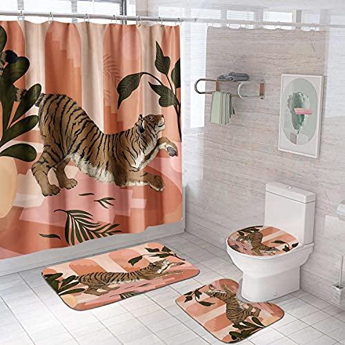 4 Stück Floral Duschvorhang Regentropfen Blume Schmetterling Rot Rose Badezimmer Vorhang mit Haken Wasserdicht Polyester Badvorhang mit Teppiche Badvorleger (Tiger)