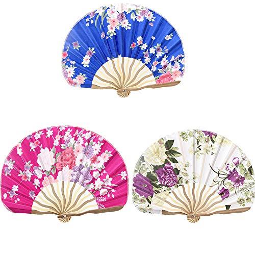 AIUIN Abanico Plegable 1 pcs Estilo Japonés de Tela Plegable abanicos Hechos a Mano (el Estilo es Aleatorio)