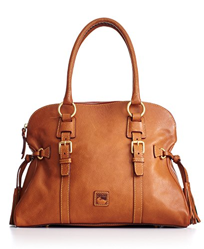 """15"""" W X 10"""" H X 6"""" D Interior features zip pocket, 2 slip pockets, snap-tab pocket and key keeper hook Top zip closure Gold-tone hardware; tassel detailed sides Leather Double handles with 7"""" drop Silhouette is based off 5'9"""" model"""