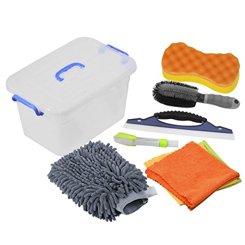 DEDC Car Cleaning Tools Kit Exterior and Interior in Box Bucket Upgraded, Car Vent Brush Tire Brush Wash Mitt Sponge Wax Applicator Microfiber Cloths Window Water Blade, Gray, Gifts, Set of 7