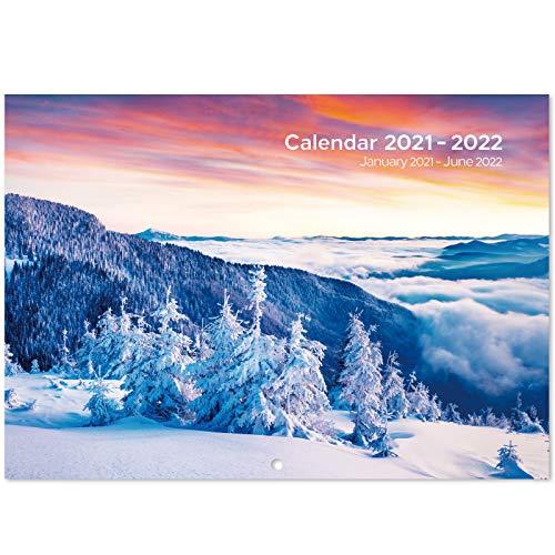 Eono by Amazon - Calendario de pared 2021-2022, planificador de pared de 18 meses de enero de 2021 a junio de 2022, planificador mensual para Office Family School, 29,7 x 21 x 0,5 cm