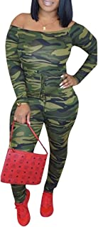 Ophestin Women Off Shoulder Camo Print Long Sleeve Drawstring Bandage Club Jumpsuits Rompers Outfits