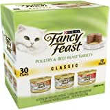 Fancy Feast Classic Poultry & Beef Feast Variety Cat Food 30-3 oz. Cans [Includes 10 Each: Tender Liver & Chicken, Turkey & Giblets, Tender Beef & Chicken Feast]