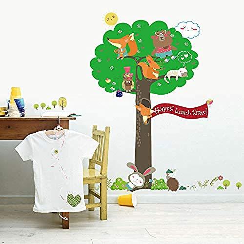 BLOOM Etiqueta de la Pared Animal de Dibujos Animados Árbol Verde Zorro Conejo Oso Lindo Búho Niños Habitación Dormitorio Decoración Papel Pintado Armario Calcomanía extraíble 60x90cm