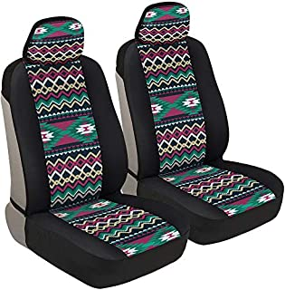 BDK Two Tone Pattern Car Seat Covers - Sideless Chic Style - Soft & Flexible Polyester (Inca Tocapu Pattern)