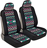 BDK Blue Aztec Pattern Car Seat Covers, Front Seats Only – Geometric Print Front Seat Cover Set with Matching Headrest, Sideless Design for Easy Installation, Universal Fit for Car Truck Van and SUV