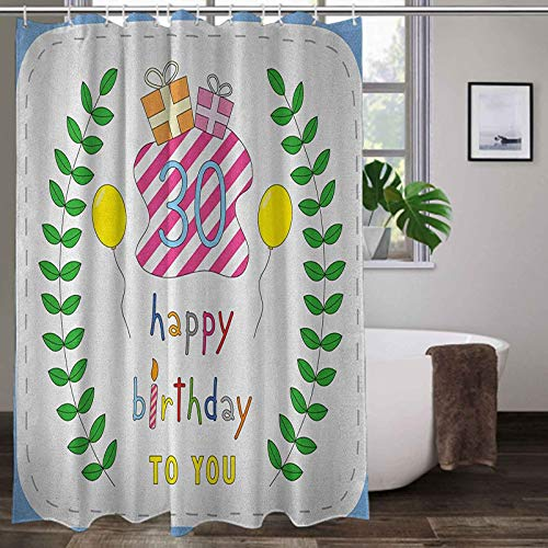 Interestlee Shower Curtains for Bathroom 108 x 72 Inch, 30th Birthday Custom Shower Curtains - Childish Display Presents Candles Branches Baloons Surprise Event Occasion, Multicolor