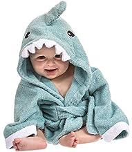 Toalla bebé con capucha de Lexikind   Mullido albornoz de rizo   Poncho-toalla con capucha   Toalla infantil con divertida capucha (tiburón azul)