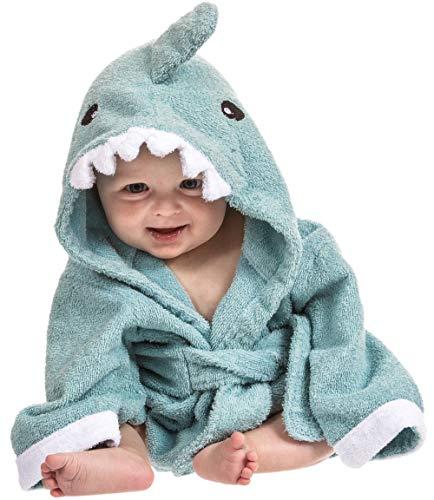 Toalla bebé con capucha de Lexikind | Mullido albornoz de rizo | Poncho-toalla con capucha | Toalla infantil con divertida capucha (tiburón azul)