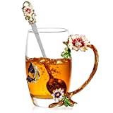 Schmetterling Blume Teetasse, 3D Glas Kaffeetassen mit Löffel Idee für Muttertag Geburtstag Valentinstag für Frauen Frau Mutter Ihre Oma Mädchen Lehrer Freunde (Lila, Groß)