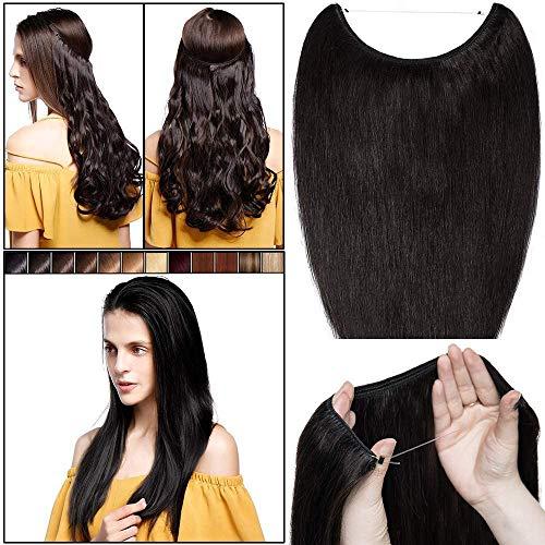 Elailite Haarteil Echthaar mit Draht 1 Tresse Extensions Unsichtbarer Faden Haaverlängerung Remy Glatt Wire Human Hair 22