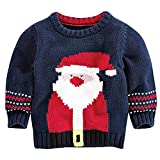 Photo de Autumn Winter Cartoon Santa Claus Girls Boys Sweater Christmas Handwork Children Knitted Pullover Top Baby Girls Boy Sweaters Dark Blue 18M