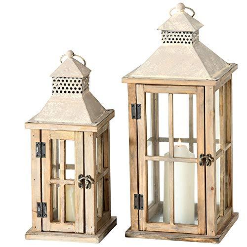 2er Set Innen Außen Laternen Balkon Windlichter Holz Hellbraun Shabby Chic Glas Tür Wohnzimmer Dekoration
