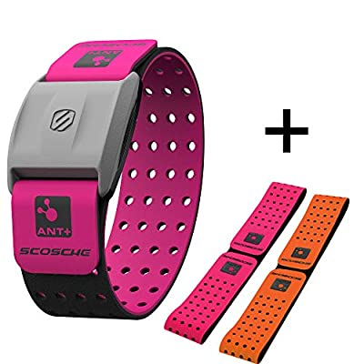 Scosche Rhythm+ Heart Rate Monitor Armband - Optical Heart Rate Armband Monitor with Dual Band Radio ANT+ and Bluetooth Smart - Bonus Pack includes Additional Free Armband (Pink)