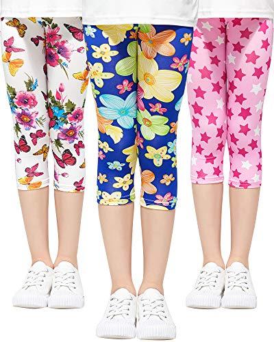 Adorel Mädchen Leggings 3/4 Capri-Hosen 3er-Pack Blumen & Stern & Schmetterling (Natur) 104-110 (Herstellergröße 110)