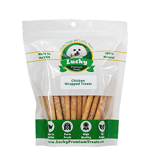 Lucky Premium Treats Healthy Chicken Wrapped Rawhide Dog Treats, All Natural Gluten Free Dog Treats for Small Dogs, 100 Chews