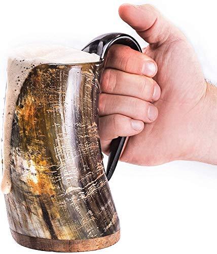 Norse Tradesman Original Viking Drinking Horn Mug - 16 oz Premium...