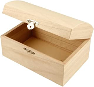 Creativ Coffre à trésor en bois avec couvercle incurvé et fermoir en métal