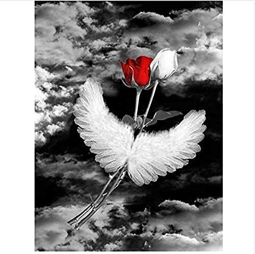 Para adultos niños principiantes cielo negro rojo blanco rosa alas fantasía pintura por números con pincel decoración 40x50 cm-With Frame