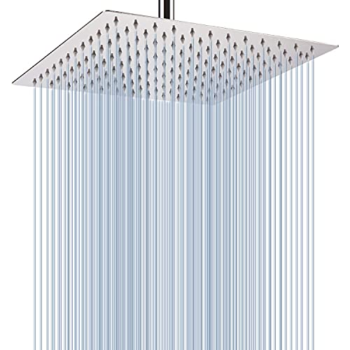 Rain Shower Head - Voolan 12 Inches Large Rainfall Shower Head Made of 304 Stainless Steel - Perfect Replacement For Your Bathroom Shower Heads (Chrome)