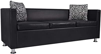 vidaXL Sofa Bed 3 Seater Lounge Suite Couch Chaise Armrest w/ 2 Pillow Black