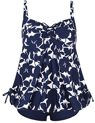 Septangle Women's Plus Size Bathing Suits Ruffle Two Piece Floral Print Swimsuit (Blue,US 16)