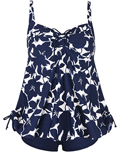 Septangle Women's Plus Size Bathing Suits Ruffle Two Piece Floral Print Bathing Suit (Blue,US 10)
