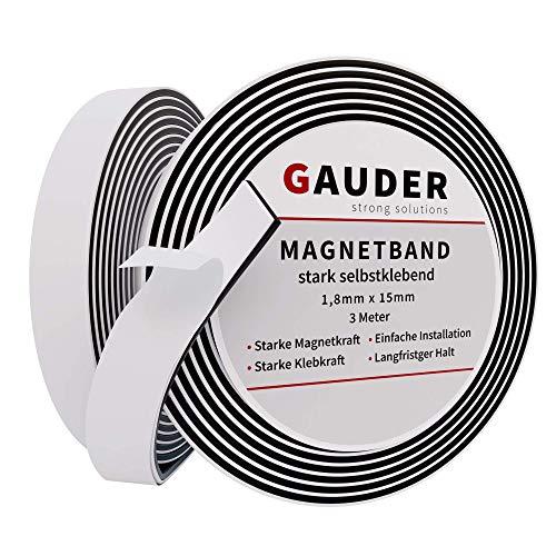 GAUDER Magnetband selbstklebend | Magnetstreifen mit extra starkem Kleber | Magnetklebeband