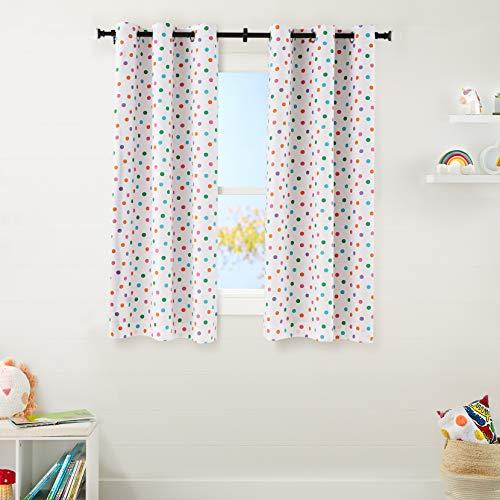 "Amazon Basics Kids Room Darkening Blackout Window Curtain Set with Grommets - 42"" x 63"