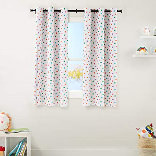 "Amazon Basics Kids Room Darkening Blackout Window Curtain Set with Grommets - 42"" x 63"", Multi-Color Polka Dots"
