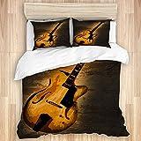 NOLOVVHA Sets de Housse Couette en Microfibre,Une Grosse Guitare Jazz sur Un Fond d'étain,avec 2 Taies d'oreiller,220x240,Parure de Lit