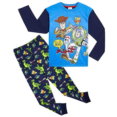 Disney Toy Story Pigiama Bambino, Pigiamino Bimbo Personaggi Toy Story 4 Forky Woody E Buzz 100% Cotone Maglietta A Maniche Lunghe Pigiami per Bambini 18 Mesi -8 Anni (5-6 Anni)