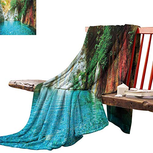 Couch Blanket Lake House Decor Collection,Isolated Natural Lagoon Cove Crystal Clear Water Lake Ivy Colorful Moss Rocks Sunshine,Multi Winter Luxury Plush Microfiber Fabric 50'x60'