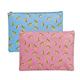 Vidal Regalos Set Neceser Viaje x2 Estuche Maquillaje Polipiel 2 Colores Rosa Azul Leopardo 29 cm